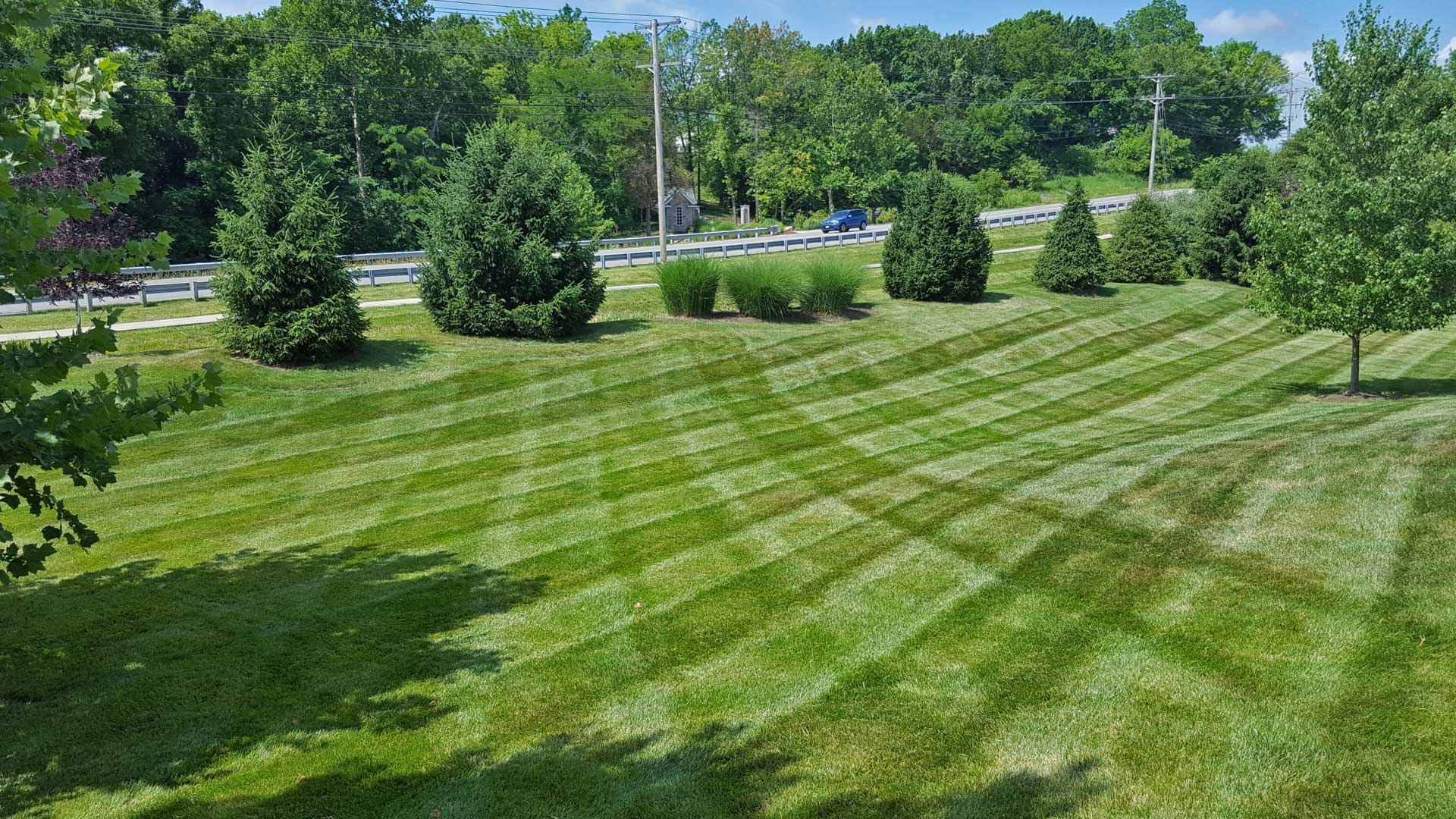 Dark green yard in Columbia, MO maintained by McVey Mowing.