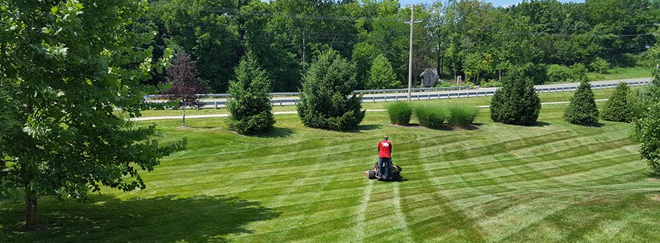 Checkerboard striped mowing service for Columbia, MO homeowner.