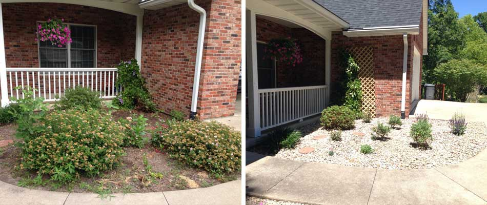Landscaping project before and after at a home in Columbia, MO.